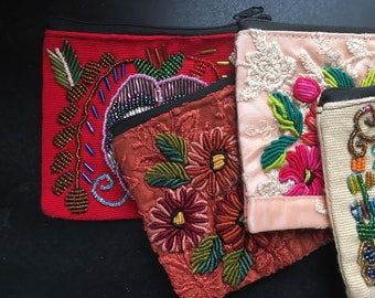 Handmade Beaded and Embellished Coin Purse / Boho Beaded Pouch / Eclectic Makeup or Money Bag / Made in Nicaragua