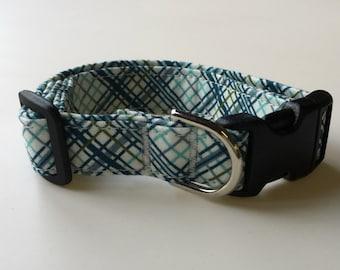 Adjustable Blue and Green Plaid Print Dog Collar