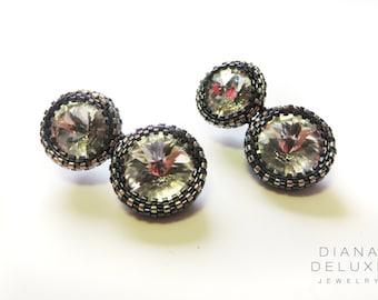Antique silver earrings Swarovski / Formal earrings crystal / Elegant Crystal Earrings / Wedding Anniversary Present for Wife / Petite bijou