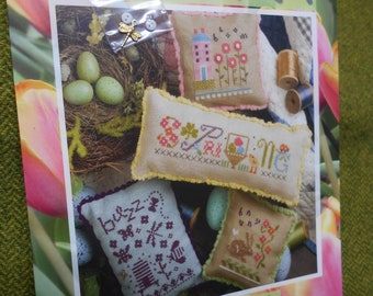 Lizzie Kate - 'Spring Small' - Cross Stitch chart and embellishment pack (the last one she designed)