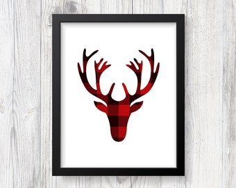 Red Flannel Deer Head Digital Art Print, Red and Black Plaid, Antler Wall Art, Cabin Style Home Decor, INSTANT PRINTABLE