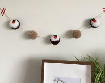 Handmade, christmas, pompom garland