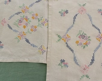 Vintage Doilies, Beige Linen Doilies with Handkerchief Edge and Embroidery Cross Stitch 3 Assorted Pieces