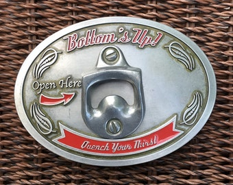Bottoms Up Bottle Opener Belt Buckle