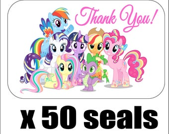 """50 My Little Pony (All Rainbow) Thank You Envelope Seals / Labels / Stickers, 1"""" by 1.5"""""""
