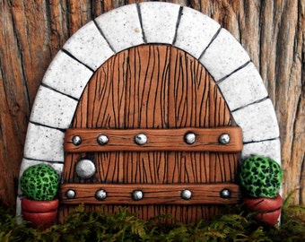 Fairy Door Decor, Gnome Home, Wooden Door with Stone Arch, Faeries and Gnomes