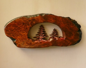 Hand carved evergreen tree in beautiful Redwood burl.