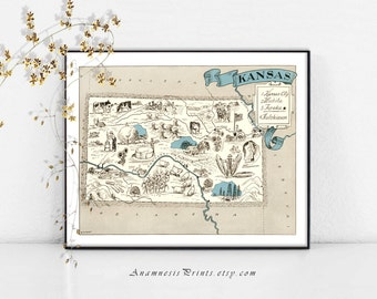KANSAS MAP PRINT - vintage pictorial map - size & color choices - personalize it - perfect gift idea for many occasions - wedding map art