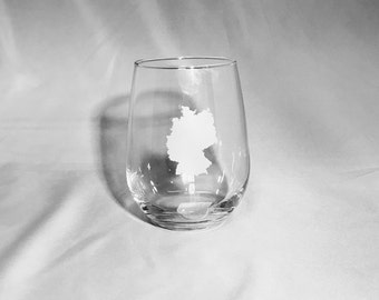 Set of 4 - Etched Stemless Wine Glasses with choice of Country