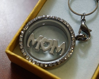 MOM Necklace with Round Locket and a MOM Charm.
