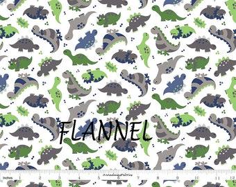 Dinosaur Flannel Fabric, Green & Gray Dinosaur Baby Flannel, Alpine Fabrics F2121 Sugar Sisters, Light Weight Cotton Flannel Yardage