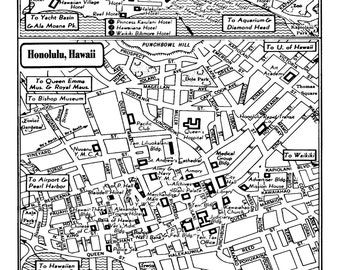 Honolulu map Etsy