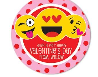 Valentine Day Stickers, Personalized Valentine Favor Gift Tags, Emoji Stickers, Kids Valentines