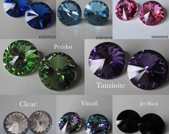 Swarovski Crystal Earrings, 11mm Rivoli Stud Earrings, Stainless Steel Stud 11mm Swarovski Rivoli Earrings
