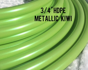 "Metallic kiwi 3/4"" HDPE Dance & Exercise Hula Hoop COLLAPSIBLE push button or minis - irridescent green colorado kind"