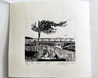 "Original Handmade Linocut Print, 6"" x 7"", Small size art, Limited edition, By the tree, Seascape, block print, black ink, gift idea"