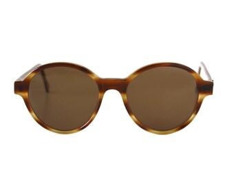 vintage oversized round sunglasses - honey brown striped sun glasses - original large 80s frames - Bowie Pop Miel
