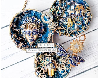 Home decor - Mixed Media round collage - Blue Gold