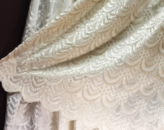 Sheer Fabric - Polyester Patterned Sheer Panel - White or Champagne Sheer  - Decorative Shaped Hem  - Singed Flower Fabric - P01 - 1 Panel