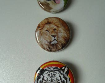"""3 BADGES """"Animals"""": a lion, Tiger and a dog"""