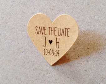Wedding Favor Stickers Small Kraft Heart Stickers Custom Labels Kraft Save the Date Labels Kraft, Mint, Baby Pink, Gold, White