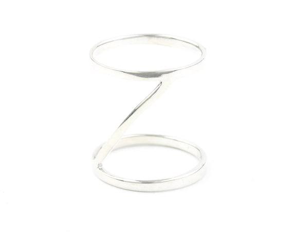 Orenda Ring, Sterling Silver Knuckle Ring, Stacked, Double, Midi, Geometric, Minimalist, Modern, Boho, Bohemian, Gypsy, Festival Jewelry