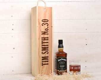 Birthday Gift For Him / Her, Whiskey Gift Box and Glass Set. 21st, 30th 40th 50th Personalised Gift WB34