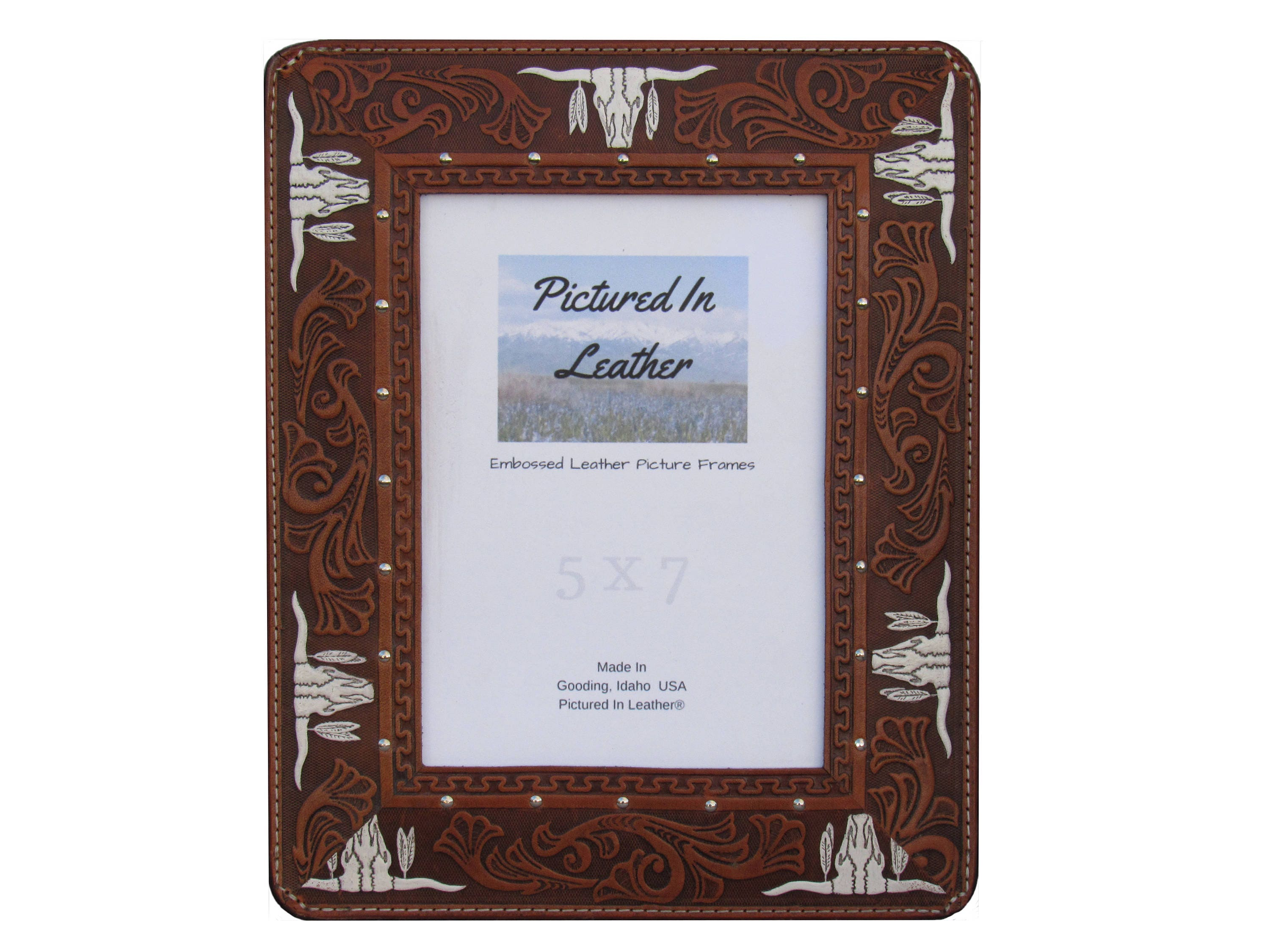 5x7 Longhorns leather picture frame, western frame, 5x7 western ...