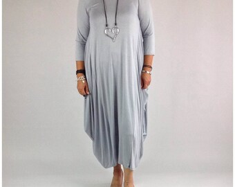 Lagenlook Dress Tunic Stretchy Viscose Quirky Plus Size 14 16 18 20 22 in Light Grey