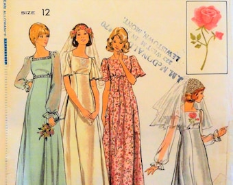 1970's Wedding dress pattern, empire waist, bridesmaid gown, retro vintage sewing pattern + transfer Simplicity 4298 misses size 12 bust 34
