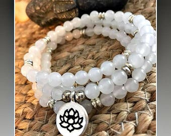 Moonstone mala, Healing crystals, mala, moonstone, Mala bracelet, meditation bracelet, 108 beads, rosary, Lotus mala, buddha, healing stone