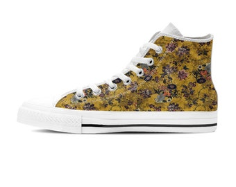 Hi top Sneakers, Custom converse style sneakers, White sole sneakers, Women tennis shoes, Sneakers shoes, Floral print shoes, Gift for her