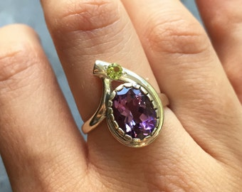 Amethyst Ring, Natural Amethyst, February Birthstone, Peridot Ring, Vintage Ring, Antique Ring, Natural Peridot, August Birthstone, Silver