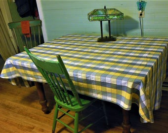 Vintage Kettlecloth Plaid Tablecloth, rounded corners, 100 x 58