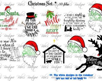 Christmas SVG set * 10 Files! * Religous * Santa * Snowman * O Holy Night * Believe *  Wisemen * Dear Santa *  SVG & EPS Files