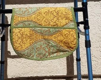 Walker Bag/ Hospital Bed Rail Bag in Brown/Gold/Green