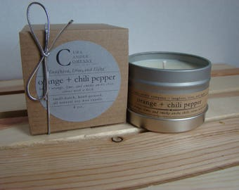 ORANGE + CHILI PEPPER. Soy Candle. Scented Candle. Natural Candle. Gift. Ready to Gift.