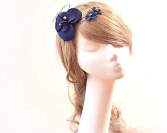Navy blue fascinator Headband fascinator Wedding headpiece Ivory headpiece Bridal fascinator Flower hair band  Flower hair comb