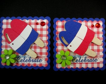 Memorial day Scrapbook Embellishment, Cupcake Topper, Patriotic Embellishment, 4th of July tags