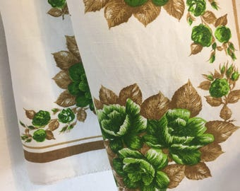 green rose tablecloth, green and brown roses, vintage table wareVintage Tablecloth, Vintage Table Linens,