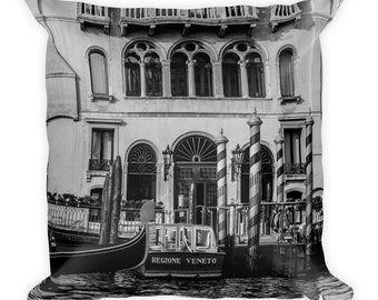Venice Dock N1 Square Throw Pillow, 1:100 Limited Edition // black and white // home decor // decoration // modern // classic // vintage