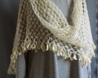 Stole scarf wrap crocheted mohair yarn acrylic cream color Azhur Warm Openwork Air For Women Girl Wonderful Gift hand Made Warm gift