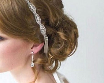 Bridal & Formal Hair Accessory: Romantic and vintage-inspired crystal wrap-around headband/tiara with rows of beading surrounding crystals.