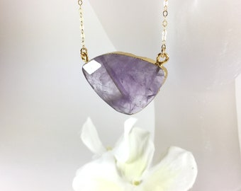 Gold Amethyst Necklace Amethyst Pendant Necklace Amethyst Jewelry Natural Gemstone Layering Boho Necklace Purple Gold Fill Necklace