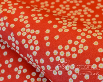 ORGANIC Cotton Red Daisies print Fabric, Quilting Weight textile, Windham Fabrics, GOTS certified ORGANIC cotton