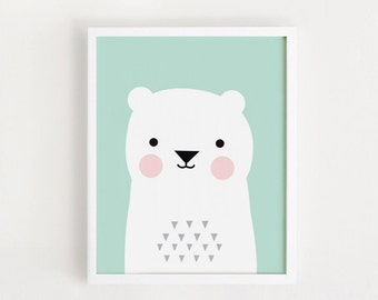 Printable nursery art print Decor Children art Poster Baby room Wall art Kids room decor Bear Print 8x10, A4, A3 INSTANT DOWNLOAD