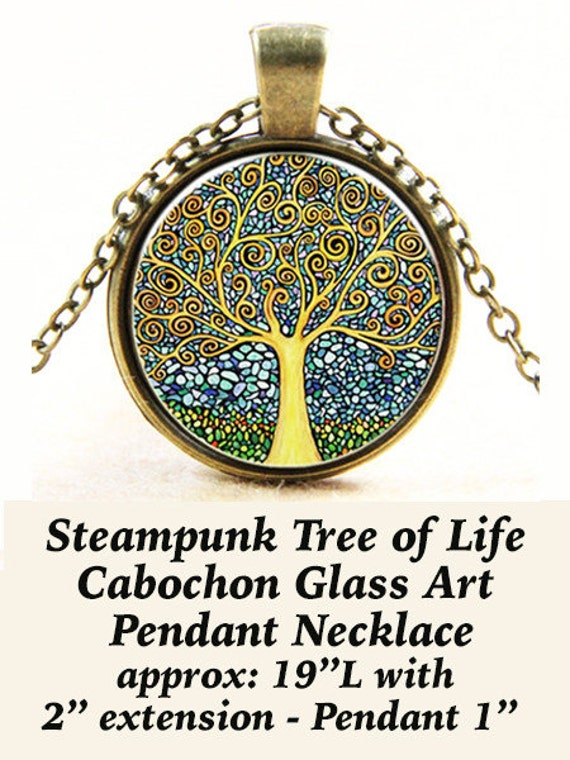 CLEARANCE - Steam PENDANT Cabochon, Tree of Life  + FREE Shipping & Discounts+