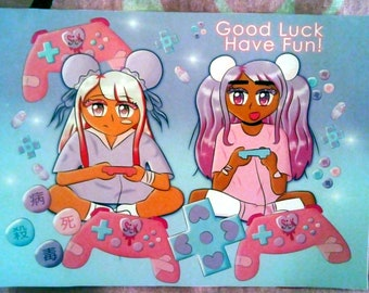 GLHF (Good Luck Have Fun) Menhera / Yamikawaii Art Print