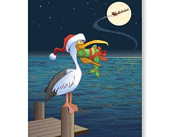 Holiday Pelican Christmas Card - 18 Cards & Envelopes - 60038