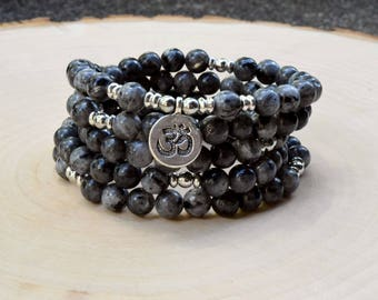 Labradorite Strength Mala Bead, 108 Mala Bead, Meditation Bead, Mala Bracelet, Meditation Bead Bracelet, Gemstone Prayer Bead Gift Bracelet